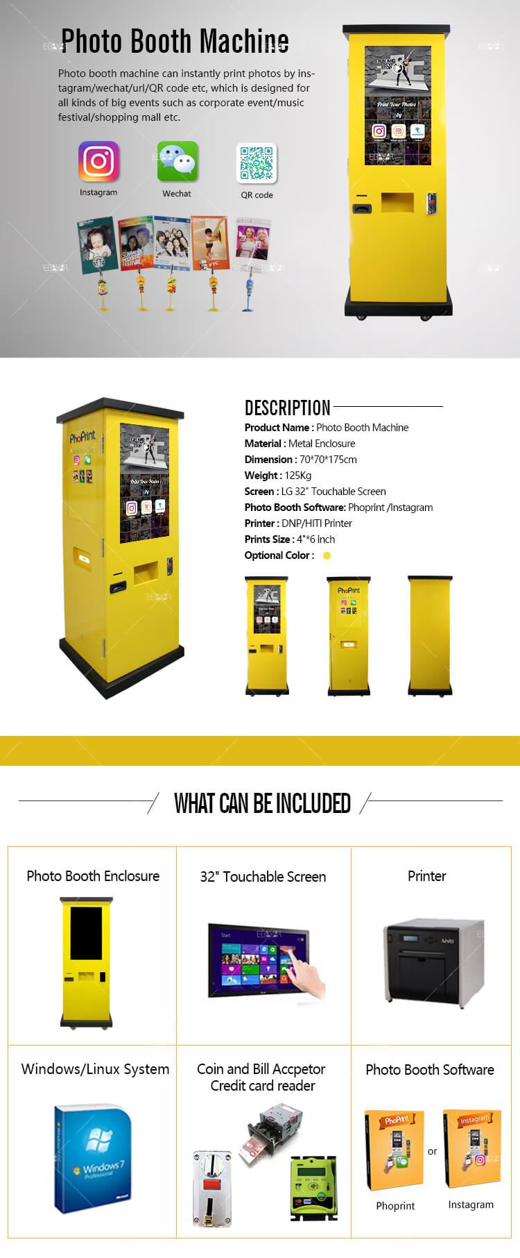 Touchscreen Photo Booth Mahcine Advertising Players Digital Signage Display 01